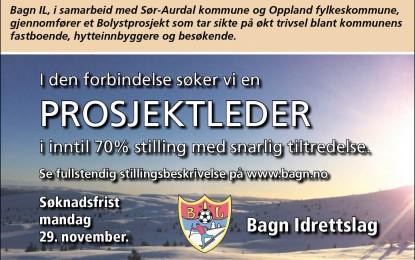 Ledig stilling som prosjektleder – Frist 29/11